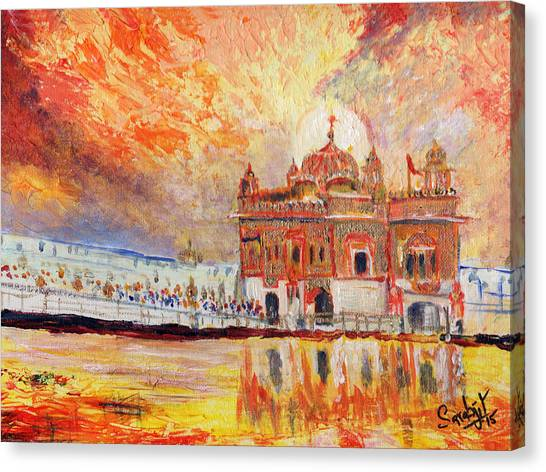 Sikh Art Canvas Print - Golden Temple At Day by Sarabjit Singh