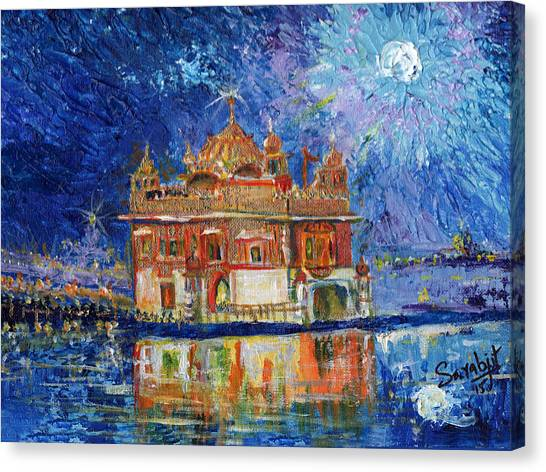 Sikh Art Canvas Print - Golden Temple At Night by Sarabjit Singh
