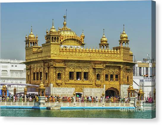 Sikh Art Canvas Print - Golden Temple Punjab India With Clear Sky 2 by Mary Raderstorf