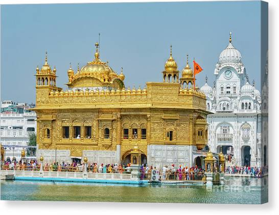 Sikh Art Canvas Print - Golden Temple Punjab India With Clear Sky by Mary Raderstorf