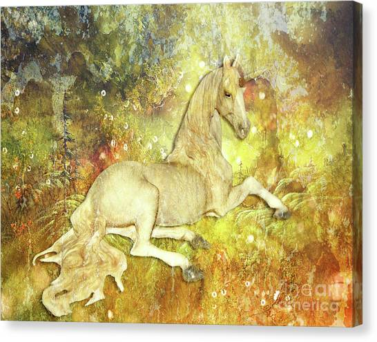 Golden Unicorn Dreams Canvas Print