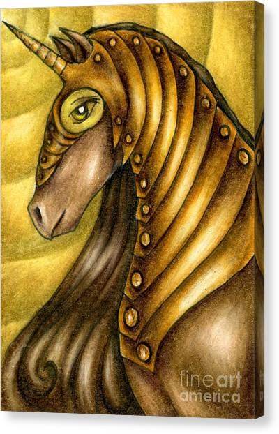 Golden Unicorn Warrior Art Canvas Print
