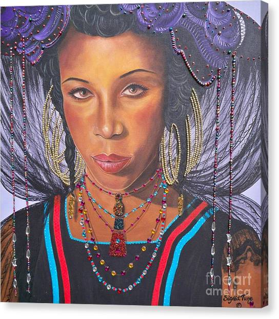 Gracious Golden Wodaabe Girl           From The Attitude Girls  Canvas Print