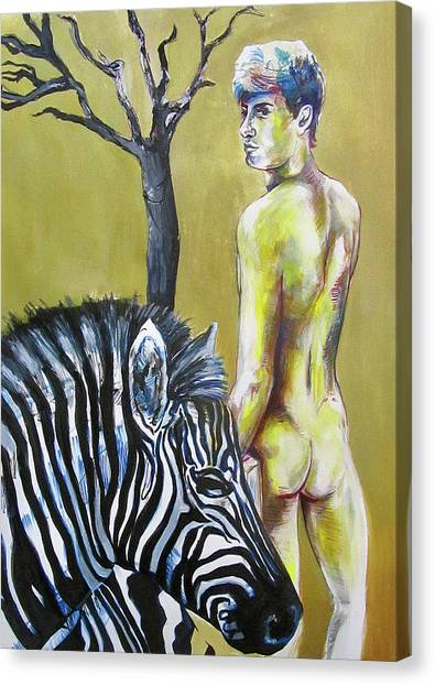 Golden Zebra High Noon Canvas Print