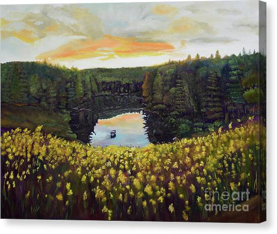 Goldenrods On Davenport Lake-ellijay, Ga  Canvas Print