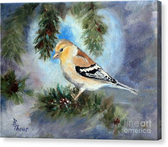 Goldfinch In A Tree Canvas Print