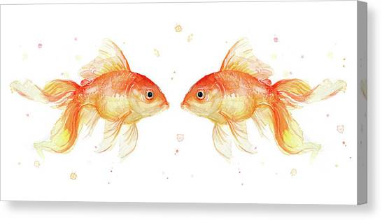 Goldfish Canvas Print - Goldfish Love Watercolor by Olga Shvartsur