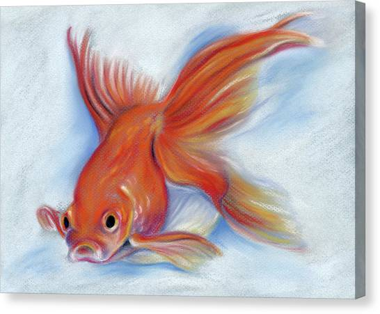 Canvas Print featuring the pastel Goldfish by MM Anderson