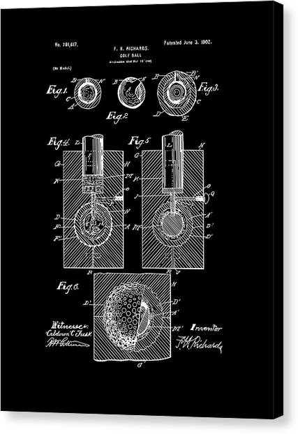 Tiger Woods Canvas Print - Golf Ball Patent Drawing Black by Bekim Art