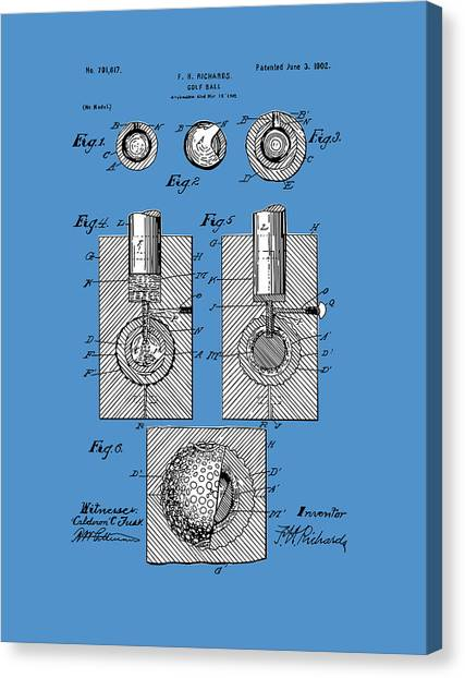 Tiger Woods Canvas Print - Golf Ball Patent Drawing Blue by Bekim Art