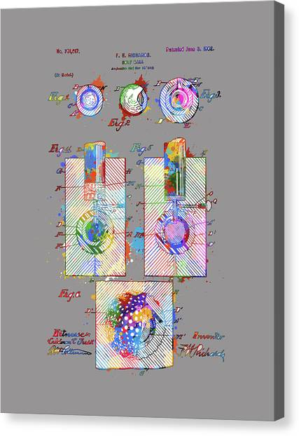 Tiger Woods Canvas Print - Golf Ball Patent Drawing Color 2 by Bekim Art