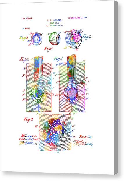 Tiger Woods Canvas Print - Golf Ball Patent Drawing Color by Bekim Art