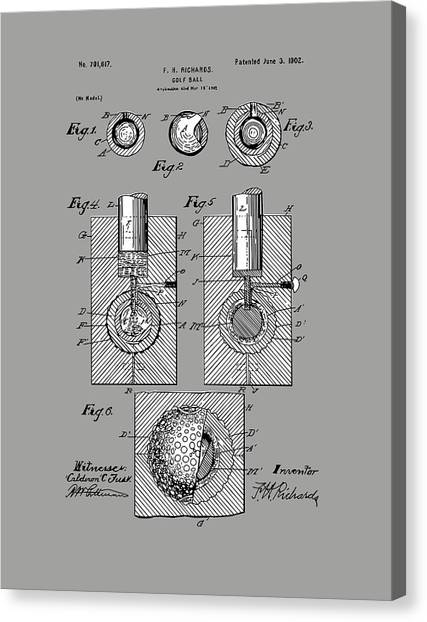 Tiger Woods Canvas Print - Golf Ball Patent Drawing Grey by Bekim Art