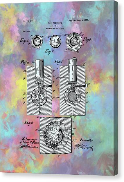 Tiger Woods Canvas Print - Golf Ball Patent Drawing Watercolor by Bekim Art