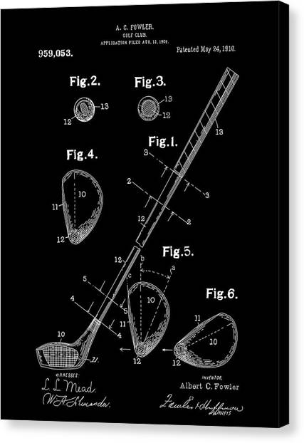 Tiger Woods Canvas Print - Golf Club Patent Drawing Black by Bekim Art