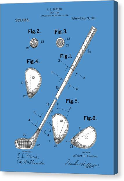 Tiger Woods Canvas Print - Golf Club Patent Drawing Blue by Bekim Art