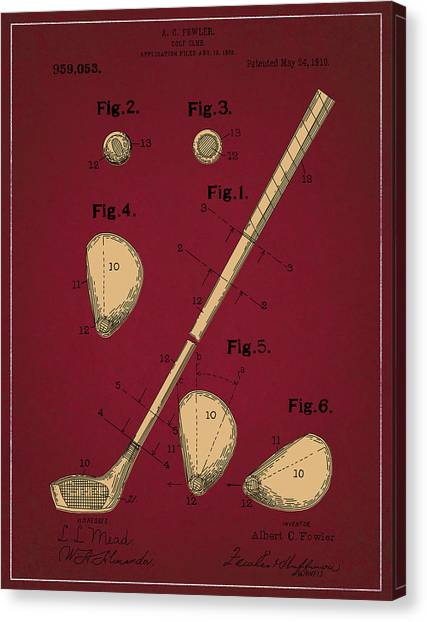 Tiger Woods Canvas Print - Golf Club Patent Drawing Dark Red 2 by Bekim Art