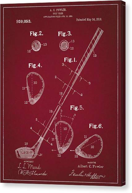 Tiger Woods Canvas Print - Golf Club Patent Drawing Dark Red by Bekim Art