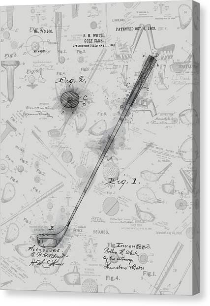 Tiger Woods Canvas Print - Golf Club Patent Drawing Grey 3 by Bekim Art