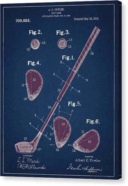 Tiger Woods Canvas Print - Golf Club Patent Drawing Navy Blue 2 by Bekim Art