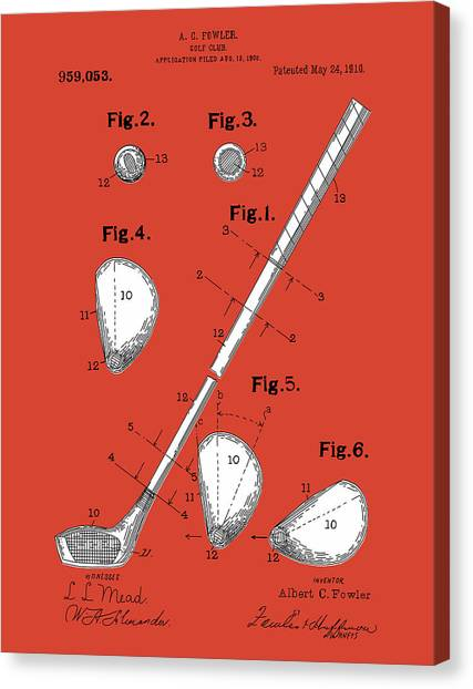 Tiger Woods Canvas Print - Golf Club Patent Drawing Red by Bekim Art