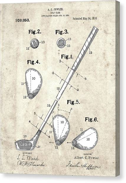 Tiger Woods Canvas Print - Golf Club Patent Drawing Vintage 2 by Bekim Art
