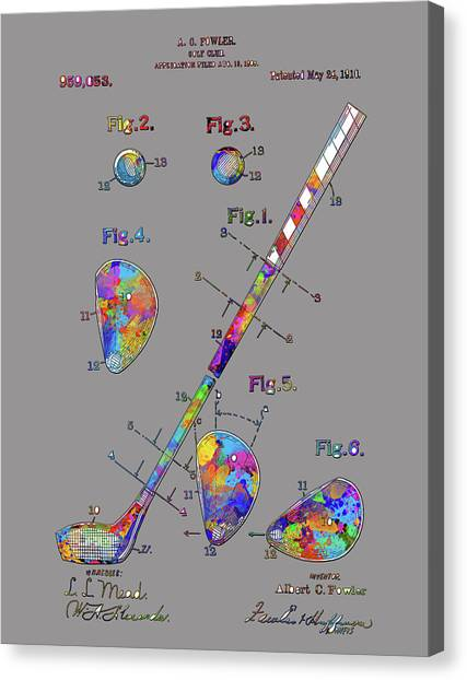 Tiger Woods Canvas Print - Golf Club Patent Drawing Watercolor 2 by Bekim Art