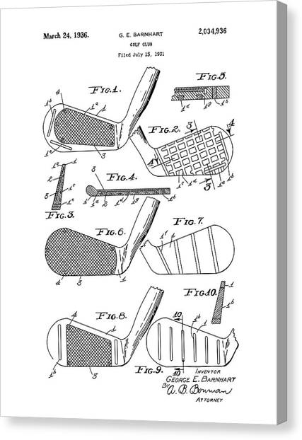 Tiger Woods Canvas Print - Golf Club Patent Drawing White 3 by Bekim Art