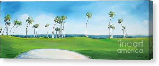 Golf Course With Palms Canvas Print by Michele Hollister - for Nancy Asbell