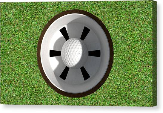 Golf Canvas Print - Golf Hole With Ball Inside by Allan Swart