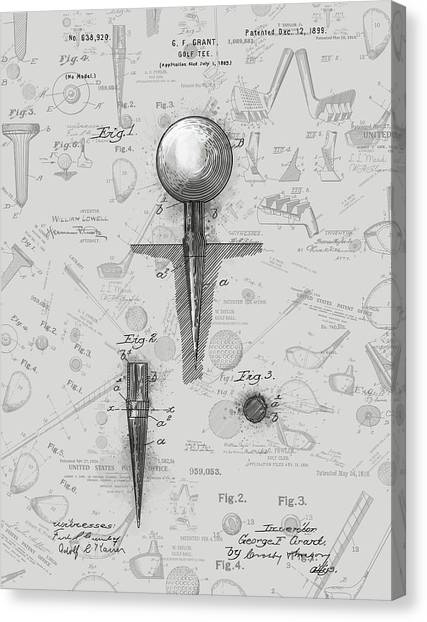 Tiger Woods Canvas Print - Golf Tee Patent Drawing Grey 2 by Bekim Art