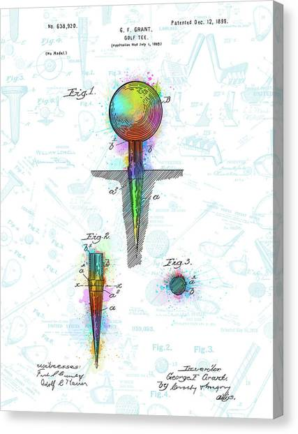 Tiger Woods Canvas Print - Golf Tee Patent Drawing Watercolor 3 by Bekim Art