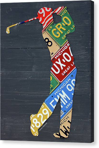 Golfers Canvas Print - Golfer Silhouette Recycled Vintage Michigan License Plate Art by Design Turnpike