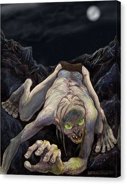 Gollum Descends Canvas Print by Brian Child