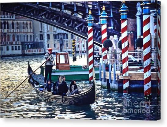 Gondola In Venice On Grand Canal Canvas Print by Michael Henderson