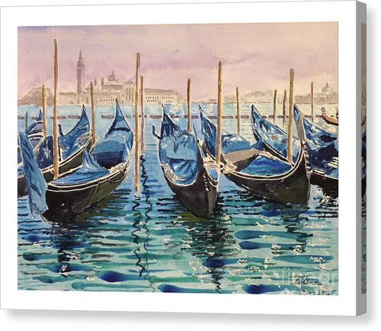 Gondolas At The Pier Venice Canvas Print