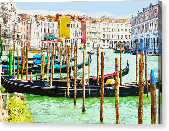 Gondolas On The Grand Canal Venice Italy Canvas Print