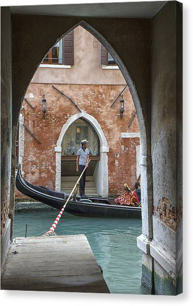 Gondolier In Frame Venice Italy Canvas Print
