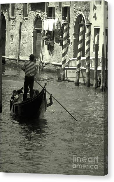 Gondolier In Venice   Canvas Print