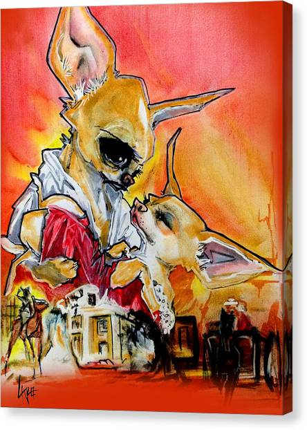 Gone With The Wind Canvas Print - Gone With The Wind Chihuahuas Caricature Art Print by John LaFree