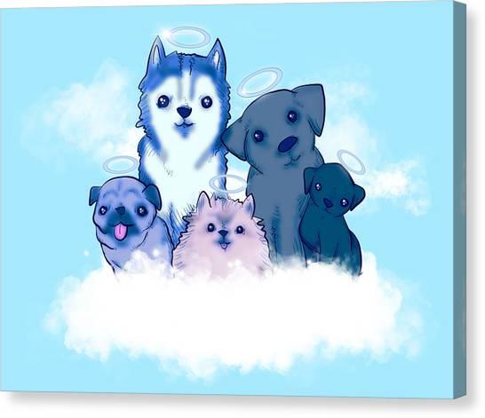 Pomeranians Canvas Print - Good Boy Heaven by Ludwig Van Bacon