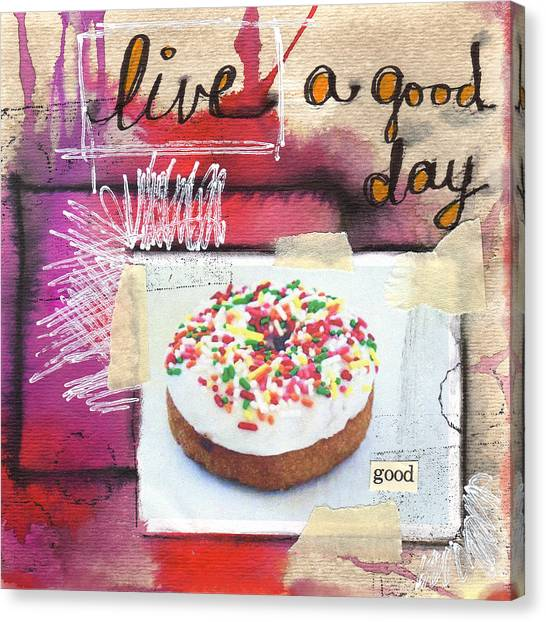 Bakeries Canvas Print - Good Day Donut- Art By Linda Woods by Linda Woods