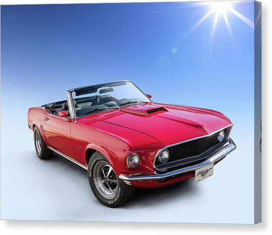Classic Mustang Car Canvas Print - Good Day Sunshine by Douglas Pittman