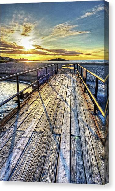 Good Harbor Beach Footbridge Shadows Canvas Print