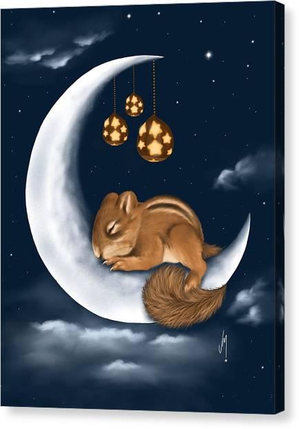 Squirrels Canvas Print - Good Night by Veronica Minozzi