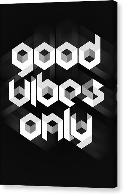 Black And White Canvas Print - Good Vibes Only Quote by Zapista Zapista