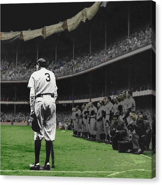 Babe Ruth Canvas Print - Goodbye Babe Ruth Farewell by Tony Rubino