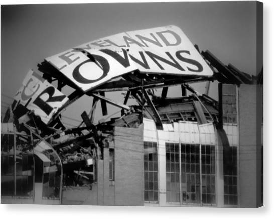 Cleveland Indians Canvas Print - Goodbye Cleveland Stadium by Kenneth Krolikowski