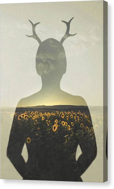 Sunflowers Canvas Print - Goodbye Summer by Art of Invi