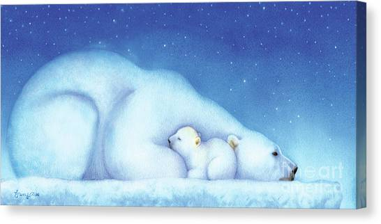 Polar Bears Canvas Print - Arctic Bears, Goodnight Nanook by Tracy Herrmann